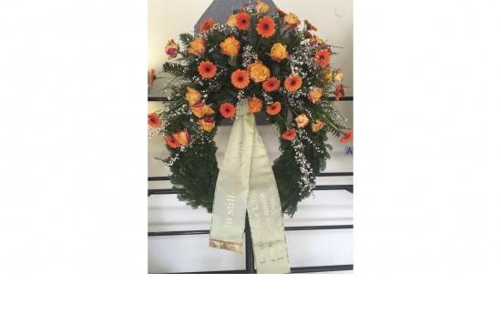 Kranz gelb-orange mit Gerbera, Rosen