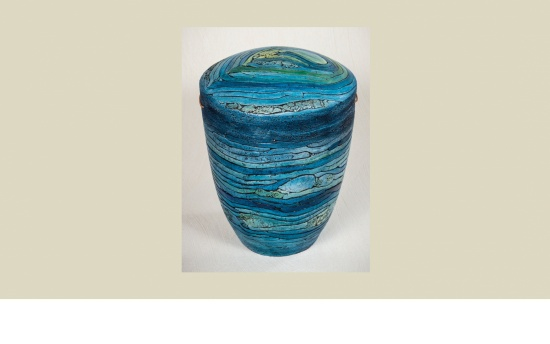 Keramik-Urne Lebenslinien blau