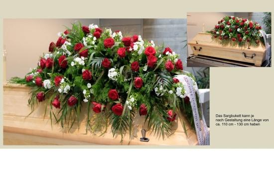 klassisches Sargbukett mit Rosen